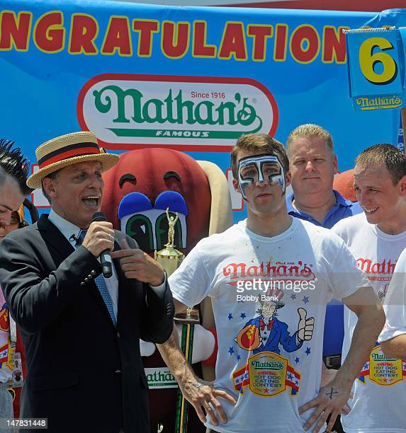 Tim 'Eater X' Janus finishes in 2nd place in the 2012 Mens Competition with 52 hot dogs at the 2012 Nathan's Famous Fourth Of July International Hot...