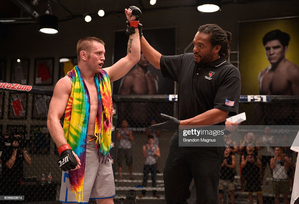 Tim Elliot celebrates his victory over Hiromasa Ogikubo during the filming of The Ultimate Fighter: Team Benavidez vs Team Cejudo at the UFC TUF Gym on August 10, 2016 in Las Vegas, Nevada.