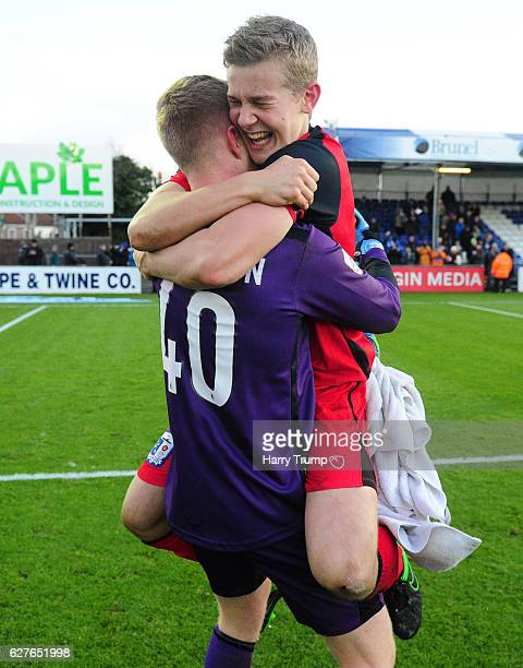 Tim Erlandsson of Barrow FC celebrates victory during the Emirates FA Cup Second Round match between Bristol Rovers and Barrow FC at the Memorial...