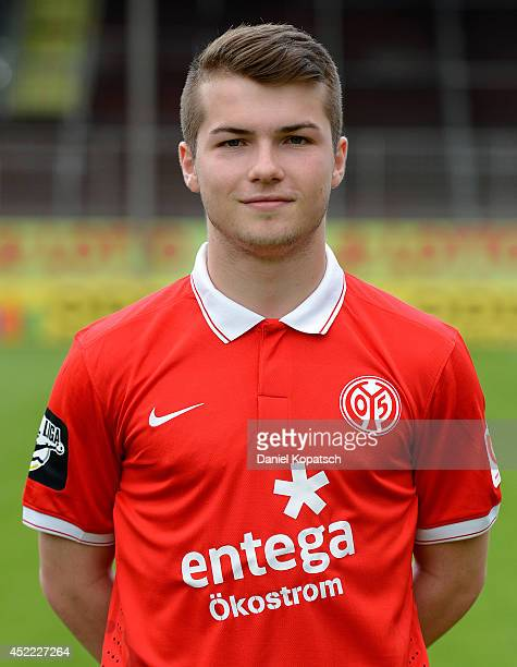 Tim Fahrenholz poses during the team presentation of 1 FSV Mainz 05 II at Bruchwegstadion on July 16 2014 in Mainz Germany