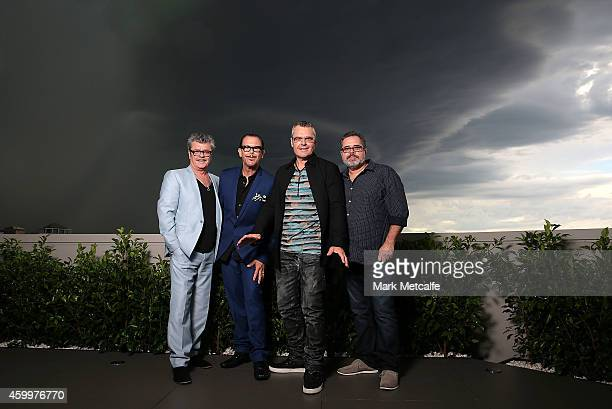 Tim Farriss Kirk Pengilly Jon Farriss and Andrew Farriss of INXS pose at the special Quadruple Platinum plaque presentation at Universal Music on...