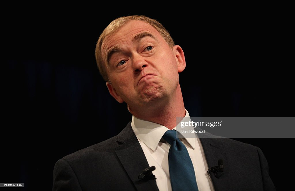 Tim Farron, leader of the Liberal Democrats, delivers a speech on the final day of the Liberal Democrats' 2016 Autumn Conference on September 20, 2016 in Brighton, England. Farron is delivering his final speech of the conference to party members today during which he is expected to announce that one of his party's key pledges would be to raise taxes to fund shortfalls in the NHS.