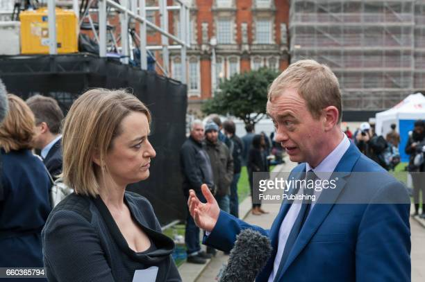 Tim Farron, Leader of the Liberal Democrats gives an interview to BBC journalist Laura Kuenssberg on the day of triggering Article 50 of the Lisbon...