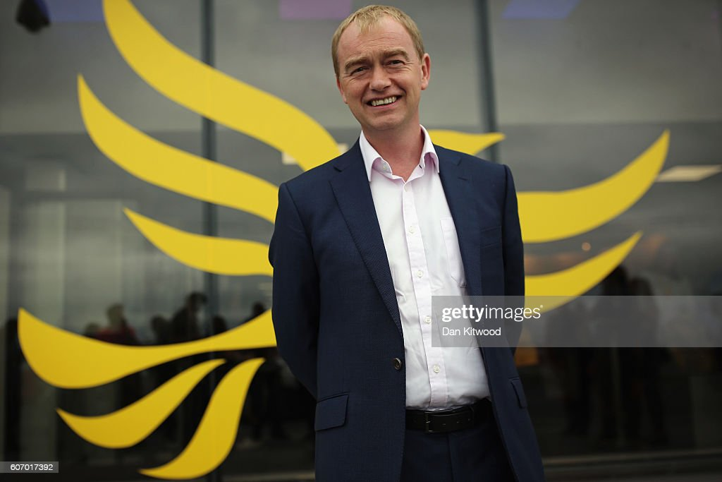 Tim Farron, leader of the Liberal Democrats poses outside the Brighton Conference Centre on September 17, 2016 in Brighton, England. The Liberal Democrats begin their 4-day annual conference today.