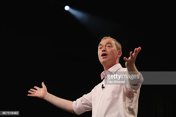 Tim Farron, leader of the Liberal Democrats rallies delegates at the end of the first day of their party's conference at the Brighton Conference...