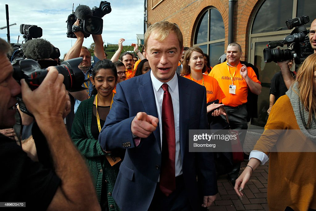 Liberal Democrat Leader Tim Farron Delivers Speech On Closing Day Of The Party's Annual Conference : News Photo