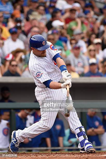 Tim Federowicz of the Chicago Cubs bats against the Cincinnati Reds on March 5 2016 in Mesa Arizona