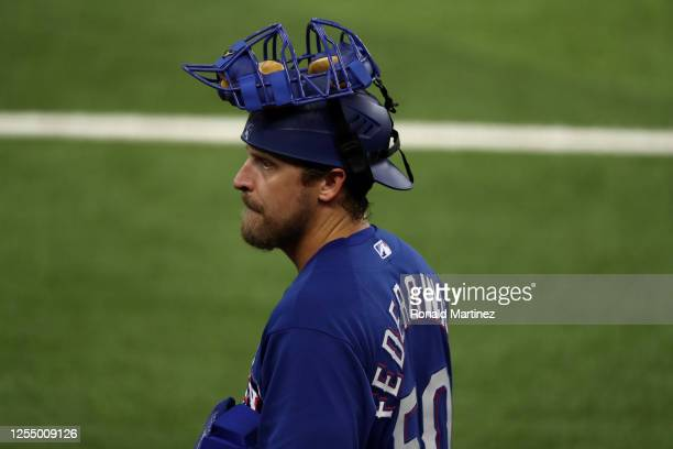 Tim Federowicz of the Texas Rangers during Major League Baseball summer workouts at Globe Life Field on July 07, 2020 in Arlington, Texas.