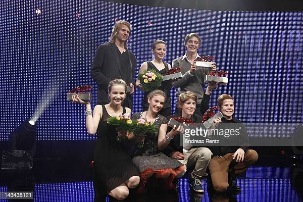 Tim Fehlbaum Lisa Vicari Louis Hofmann Valeria Eisenbart Leon Seidel Jasna Fritzi Bauer and Jonas Nay seen onstage posing with their awards during...
