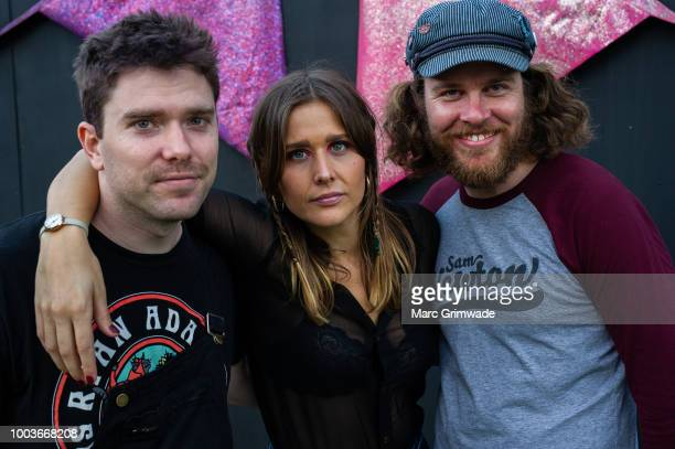 Tim Fitz and Hannah Joy and Harry Day from Middle Kids backstage at Splendour in the Grass 2018 on July 22 2018 in Byron Bay Australia