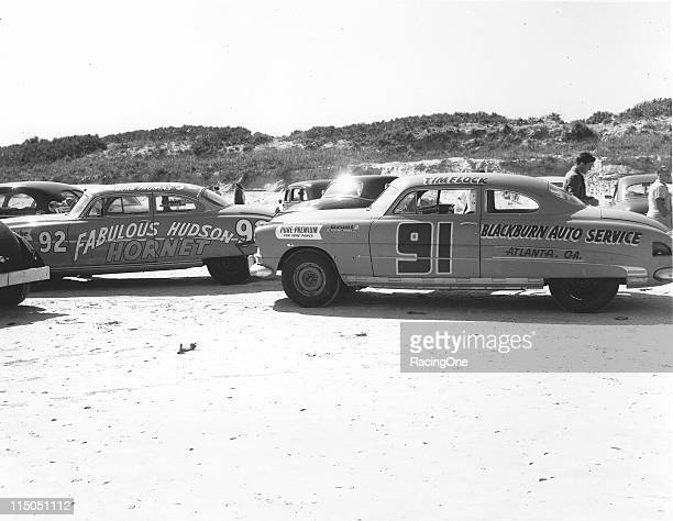 Tim Flock drove the Ted Chester Hudson Hornet on the sands of Daytona but broke a connecting rod relegating him to 55th finishing position No 92 is...