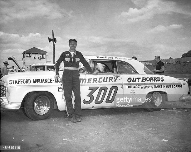 Tim Flock poses with his Carl Kiekhaeferowned Mercury Outboards Chrysler 300 at a NASCAR Cup race Although Flock entered just 39 of the 45 Cup events...
