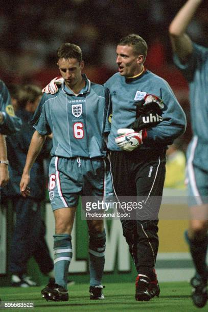 Tim Flowers of England consoles Gareth Southgate after the UEFA Euro 96 Semi Final between Germany and England at Wembley Stadium on June 26 1996 in...