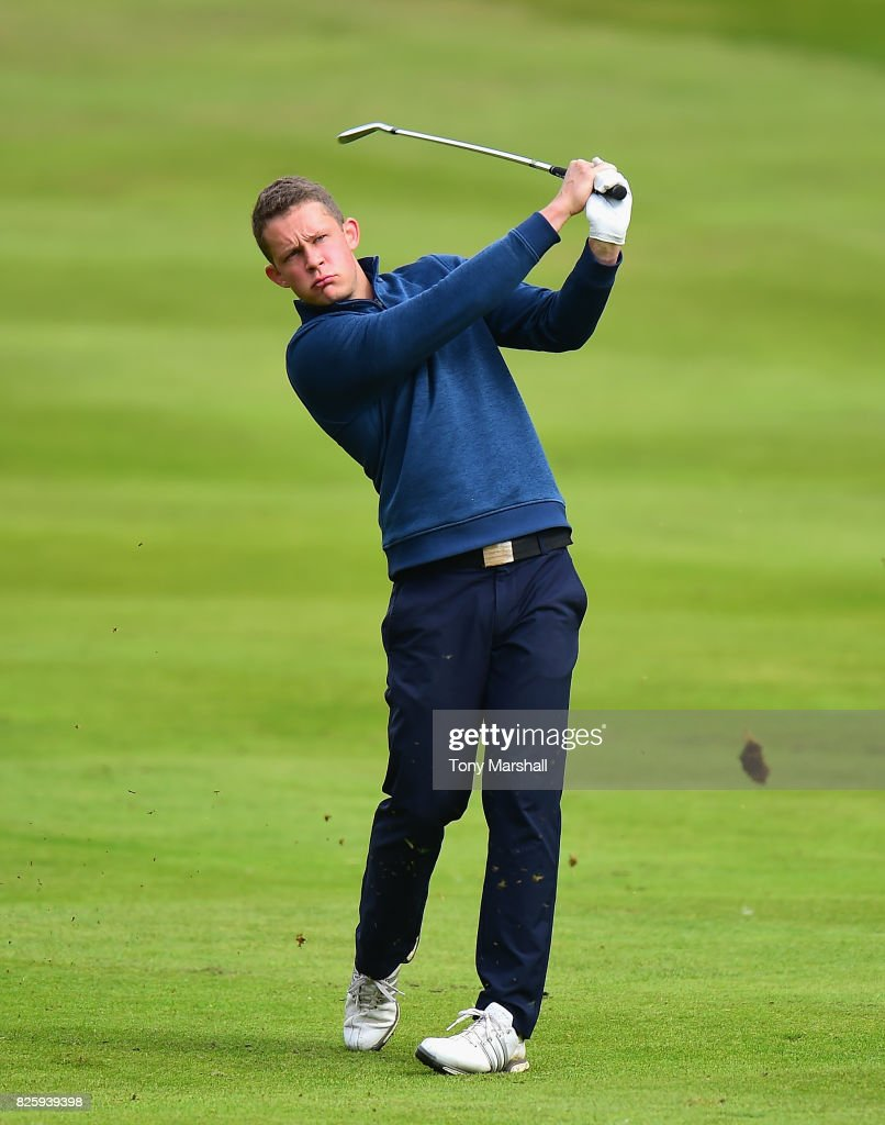 Tim Ford of Liverpool Driving Range plays his second shot ...