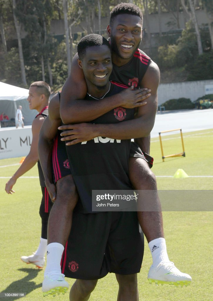 Tim Fosu-Mensah and Eric Bailly of Manchester United pose together during a Manchester United pre-season training session at UCLA on July 23, 2018 in Los Angeles, California.