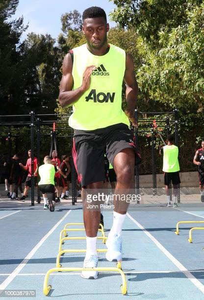 Tim FosuMensah of Manchester United in action during a Manchester United preseason training session at UCLA on July 16 2018 in Los Angeles California