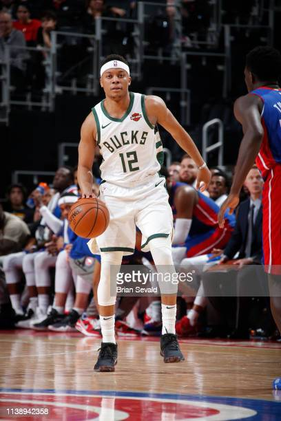 Tim Frazier of the Milwaukee Bucks handles the ball against the Detroit Pistons during Game Four of Round One of the 2019 NBA Playoffs on April 22...