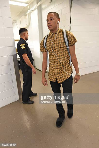 Tim Frazier of the New Orleans Pelicans arrives prior to the game against the Golden State Warriors at Smoothie King Center on October 28 2016 in New...