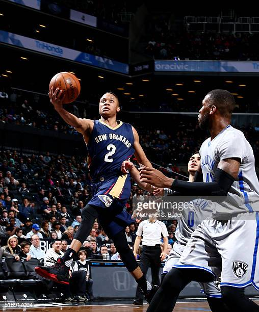 Tim Frazier of the New Orleans Pelicans goes for the layup during the game against the Brooklyn Nets on April 3 2016 at Barclays Center in Brooklyn...