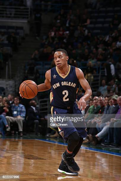 Tim Frazier of the New Orleans Pelicans handles the ball against the Milwaukee Bucks on November 10 2016 at the BMO Harris Bradley Center in...