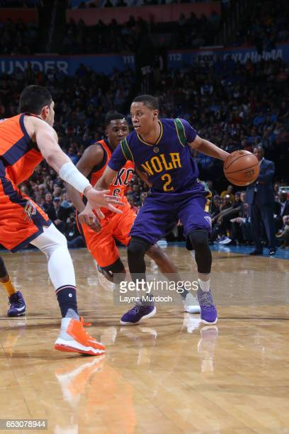 Tim Frazier of the New Orleans Pelicans handles the ball against the Oklahoma City Thunder on February 26 2017 at the Chesapeake Energy Arena in...