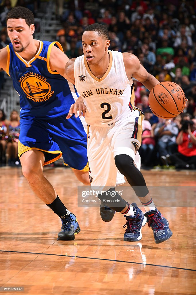 Tim Frazier #2 of the New Orleans Pelicans handles the ball during a game against the Golden State Warriors at Smoothie King Center on October 28, 2016 in New Orleans, Louisiana.