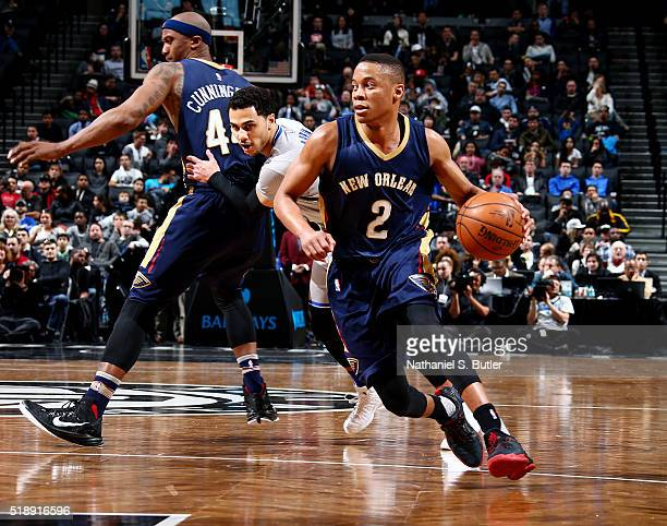Tim Frazier of the New Orleans Pelicans handles the ball during the game against the Brooklyn Nets on April 3 2016 at Barclays Center in Brooklyn New...
