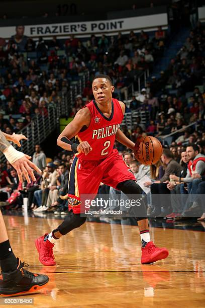 Tim Frazier of the New Orleans Pelicans handles the ball during the game against the Oklahoma City Thunder on December 21 2016 at the Smoothie King...