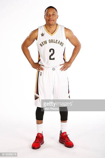 Tim Frazier of the New Orleans Pelicans poses for a portrait during the 2016 NBA Media Day on September 23 2016 at the Smoothie King Center in New...