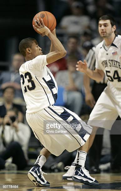 Tim Frazier of the Penn State Nittany Lions shoots the ball against the Penn Quakers at the Bryce Jordan Center on November 13 2009 in State College...