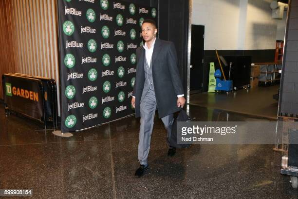 Tim Frazier of the Washington Wizards arrives to the arena prior to the game against the Boston Celtics on December 25 2017 at the TD Garden in...