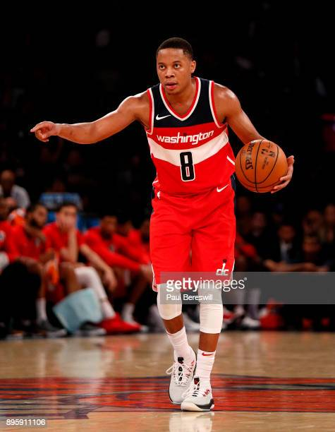 Tim Frazier of the Washington Wizards directs his team in a preseason NBA basketball game against the New York Knicks on October 13 2017 at Madison...