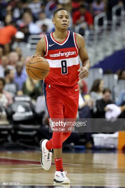 Tim Frazier of the Washington Wizards dribbles the ball against the Detroit Pistons at Capital One Arena on October 20 2017 in Washington DC NOTE TO...