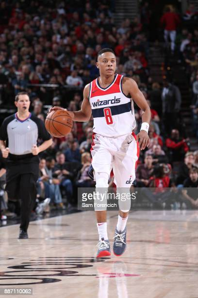 Tim Frazier of the Washington Wizards dribbles the ball up the court against the Portland Trail Blazers on December 5 2017 at the Moda Center Arena...
