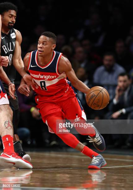 Tim Frazier of the Washington Wizards drives against the Brooklyn Nets during their game at Barclays Center on December 12 2017 in the Brooklyn...
