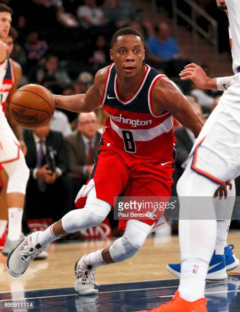 Tim Frazier of the Washington Wizards drives to the basket in a preseason NBA basketball game against the New York Knicks on October 13 2017 at...