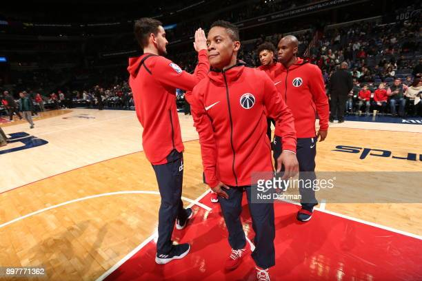 Tim Frazier of the Washington Wizards gets introduced before the game against the Orlando Magic on December 23 2017 at Capital One Arena in...