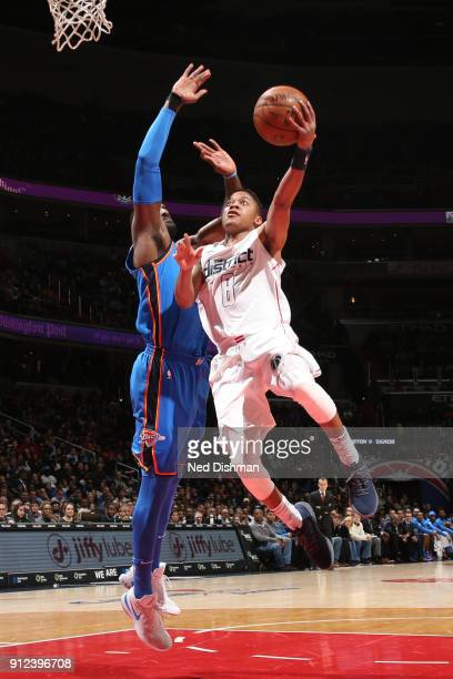 Tim Frazier of the Washington Wizards goes for a layup against the Oklahoma City Thunder on January 30 2018 at Capital One Arena in Washington DC...