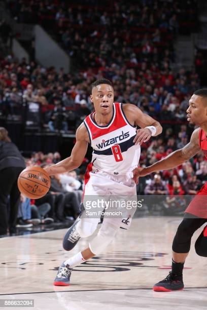 Tim Frazier of the Washington Wizards handles the ball against the Portland Trail Blazers on December 5 2017 at the Moda Center in Portland Oregon...