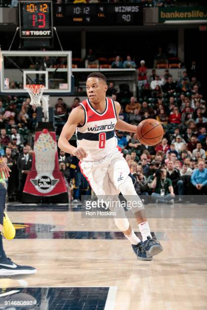 Tim Frazier of the Washington Wizards handles the ball against the Indiana Pacers on February 5 2018 at Bankers Life Fieldhouse in Indianapolis...