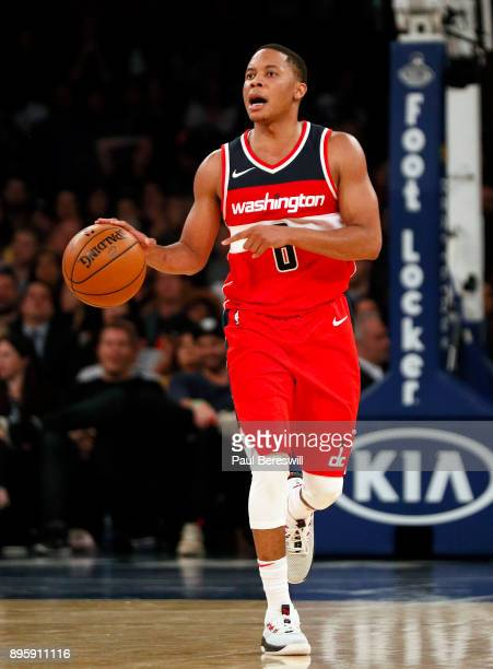 Tim Frazier of the Washington Wizards moves the ball upcourt in a preseason NBA basketball game against the New York Knicks on October 13 2017 at...