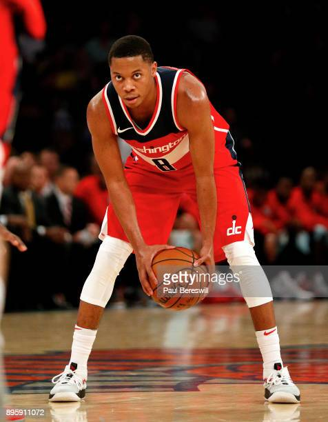 Tim Frazier of the Washington Wizards prepares to start his move in a preseason NBA basketball game against the New York Knicks on October 13 2017 at...