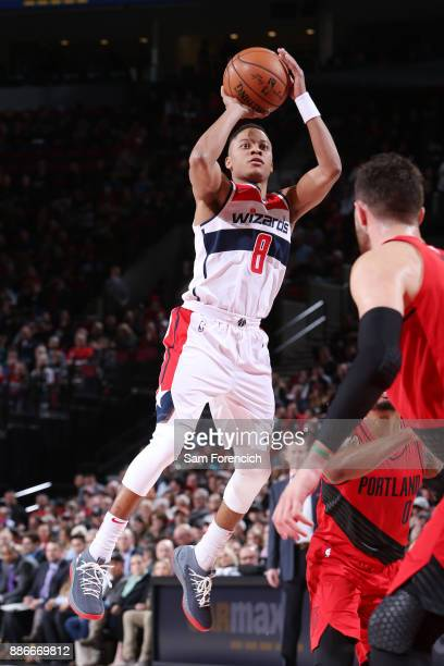 Tim Frazier of the Washington Wizards shoots the ball against the Portland Trail Blazers on December 5 2017 at the Moda Center in Portland Oregon...
