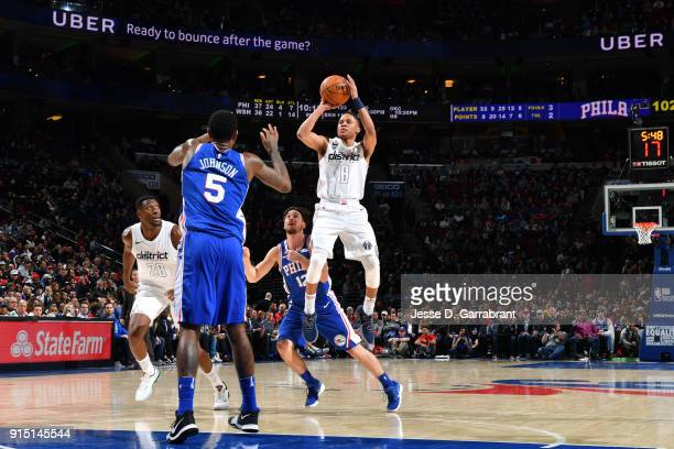Tim Frazier of the Washington Wizards shoots the ball against the Philadelphia 76ers on February 6 2018 at Wells Fargo Center in Philadelphia...