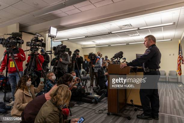 Tim Gannon, Brooklyn Center Police Chief speaks at the Brooklyn Center Police Station after a police officer shot and killed a Black man in Brooklyn...