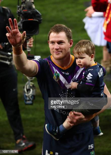 Tim Glasby of the Storm leaves the field after winning the NRL Preliminary Final match between the Melbourne Storm and the Cronulla Sharks at AAMI...