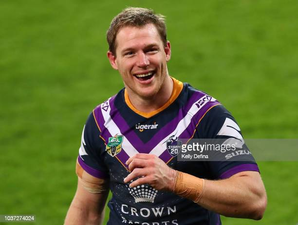 Tim Glasby of the Storm looks on after the Storm win the NRL Preliminary Final match between the Melbourne Storm and the Cronulla Sharks at AAMI Park...