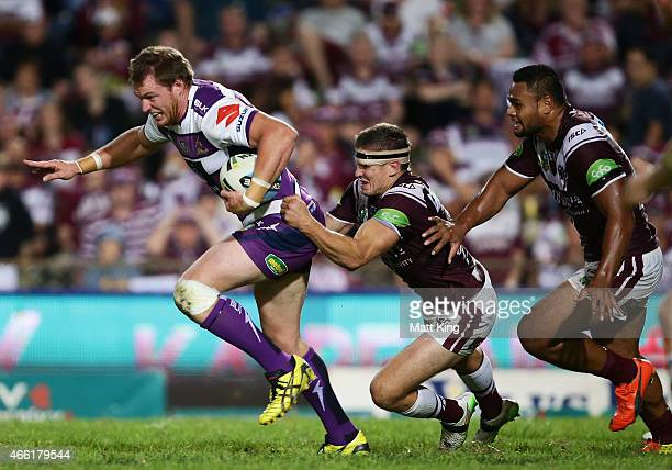 Tim Glasby of the Storm makes a break during the round two NRL match between the Manly Warringah Sea Eagles and the Melbourne Storm at Brookvale Oval...