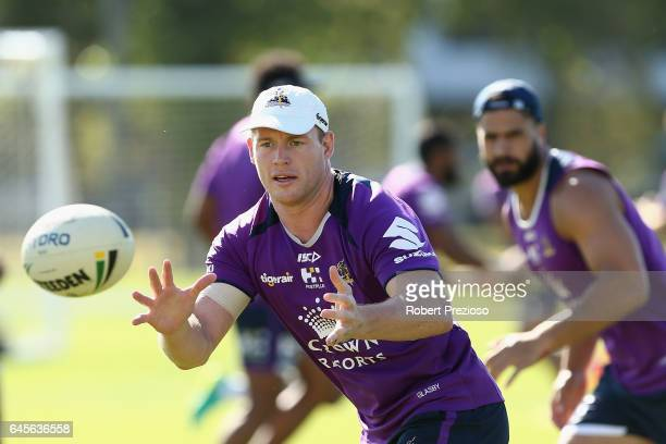 Tim Glasby receives the ball during the Melbourne Storm NRL training session at Gosch's Paddock on February 27 2017 in Melbourne Australia