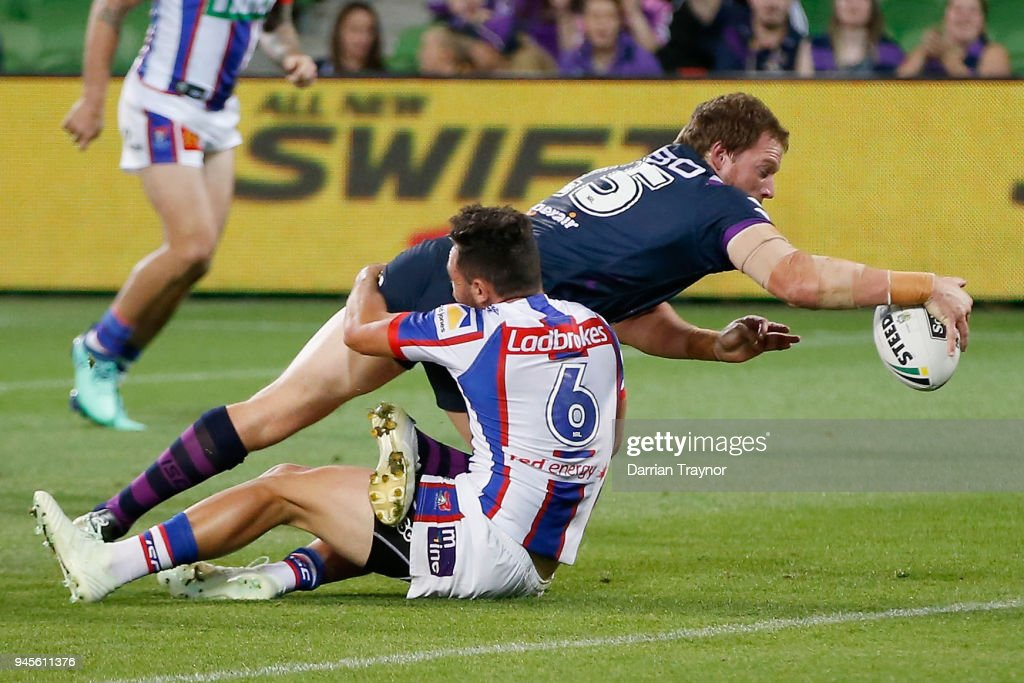 Tim Glasby scores a try during the round six NRL match between the Melbourne Storm and the Newcastle Knights at AAMI Park on April 13, 2018 in Melbourne, Australia.